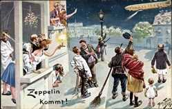 Künstler Ak Thiele, Arthur, Zeppelin kommt, Beobachter, Nachthimmel