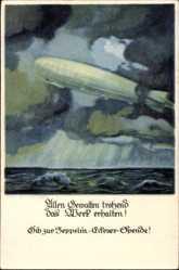 Künstler Ak Amtsberg, Otto, Zeppelin, Eckener Spende