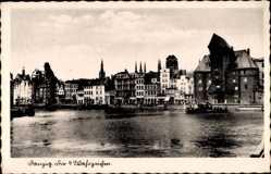 Postcard Gdańsk Danzig, Die vier Wahrzeichen, Krantor, Sternwarte, Marienkirche