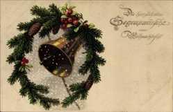 Postcard Frohe Weihnachten, Weihnachtsglocke, Meissner Buch, Sondermarke