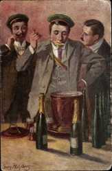 Studentika Künstler Ak Mühlberg, Georg, Studenten trinken Maibowle
