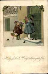 Künstler Ak Ebner, Pauli, Frohe Weihnachten, Kinder an der Tür