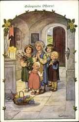 Künstler Ak Ebner, Pauli, Glückwunsch Ostern, Kinder beten am Altar, Munk 1054