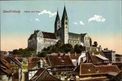 Postcard Quedlinburg im Harz, Blick über die Dächer auf Schloss und Schlosskirche