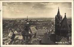 Postcard Worms in Rheinland Pfalz, Blick über die Dächer der Stadt