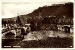 Postcard Bad Kösen Naumburg an der Saale, Flusspartie mit Brücke und Stadt