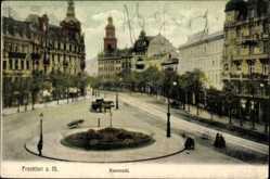 Postcard Frankfurt am Main, Blick auf den Rossmarkt, Kutschen, Häuser