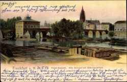 Postcard Frankfurt am Main, Totalansicht, alte Brücke mit Brückenmühle