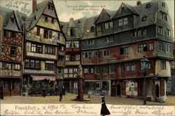 Postcard Frankfurt am Main, Große Fischergasse mit Freiheitsbrunnen, Wirtschaft
