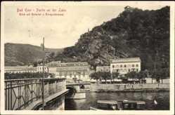 Postcard Bad Ems im Rhein Lahn Kreis, Partie an der Lahn, Bäderlei, Kriegerdenkmal