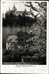 Postcard Wernigerode am Harz, Blick auf das Schloss, Fachwerkhaus, Baumblüte