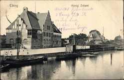 Ak Elbląg Elbing Ostpreußen, Königliches Zollamt, Flusspartie