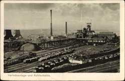 Postcard Schlesien, Verladeanlage und Kohlenhale, Zeche, Gleise