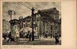 Künstler Ak Mayer, Katowice Kattowitz Schlesien, Stadttheater, Litfaßsäule