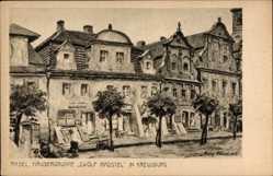 Künstler Ak Rasel, Kluczbork Kreuzburg Schlesien, Häusergruppe Zwölf Apostel