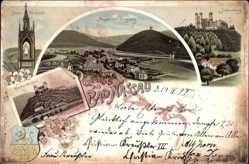 Litho Nassau im Rhein Lahn Kreis, Burgberg, Stein Denkmal, Schaumburg