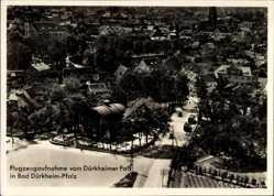 Postcard Bad Dürkheim Pfalz, Fliegeraufnahme, Dürkheimer Fass, Ortschaft