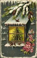 Präge Litho Glückwunsch Weihnachten, Blick durch Fenster auf Weihnachtsbaum