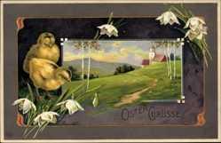 Präge Ak Glückwunsch Ostern, Zwei Küken, Glockenblumen