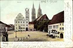 Postcard Oschatz in Nordsachsen, Der Neumarkt mit Rathaus