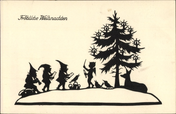 scherenschnitt ansichtskarte postkarte frohe weihnachten. Black Bedroom Furniture Sets. Home Design Ideas
