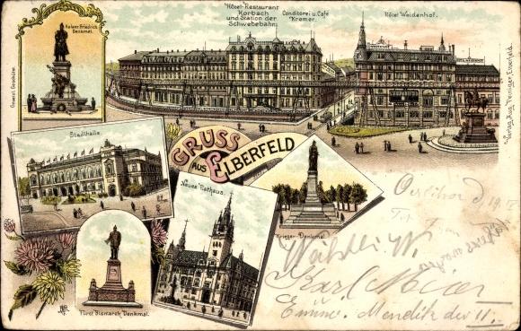Litho elberfeld wuppertal bismarck denkmal stadthalle for Hotel wuppertal elberfeld