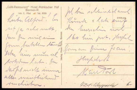 Ansichtskarte postkarte barmen wuppertal cafe hotel for Hotel wuppertal barmen