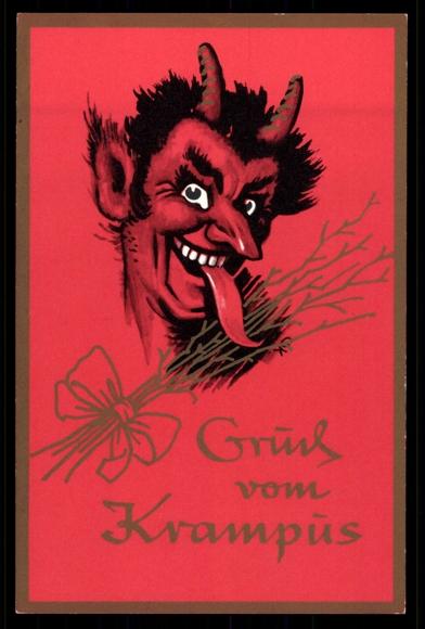 ansichtskarte  postkarte gruß vom krampus mit zunge raus