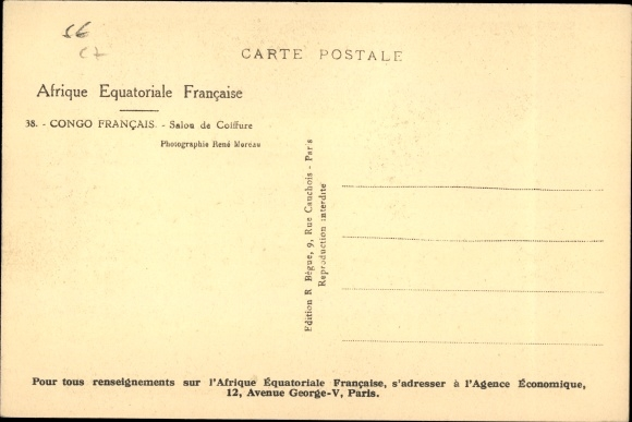Ansichtskarte Postkarte Franzosisch Kongo Salon De Akpool De