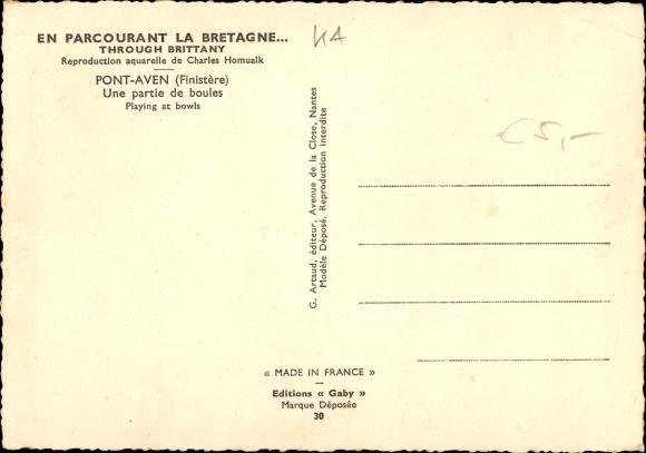 Artiste Carte Postale Homualk Charles Pont Aven Finistere Une Partie De Boules Trachten Bretagne
