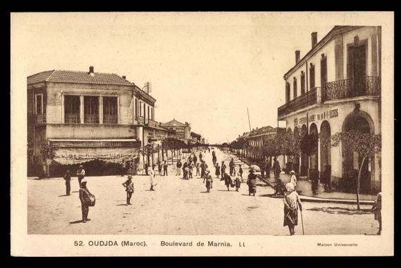 ansichtskarte postkarte oudjda marokko boulevard de marnia gesch fte. Black Bedroom Furniture Sets. Home Design Ideas