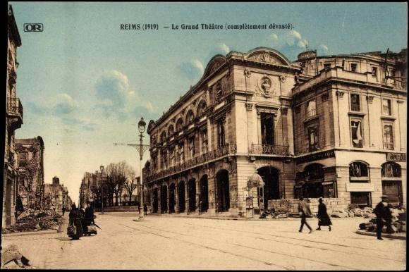 Carte postale reims cpa 51 le grand th tre blick zum - Carte de visite reims ...