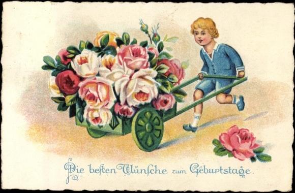 ansichtskarte postkarte gl ckwunsch geburtstag kind mit. Black Bedroom Furniture Sets. Home Design Ideas