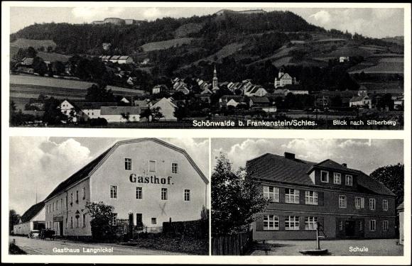 Ansichtskarte postkarte schönwalde schlesien schule gasthaus