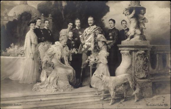 Postkarte kaiser wilhelm ii von preußen mit familie und hund