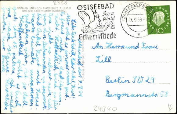 Backside Postcard Eckernförde, Stiftung Missions Kinderheim Altenhof
