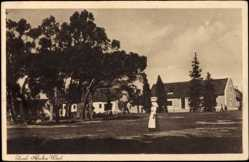 Postcard Zuid Namibia, Blick auf eine Siedlung, Frau