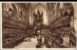 Postcard Lincoln East Midlands,Choir, Lincoln Cathedral,organ