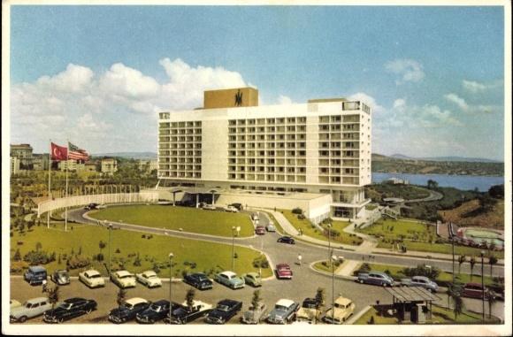Postcard Istanbul Türkei, Partie am Hilton Hotel