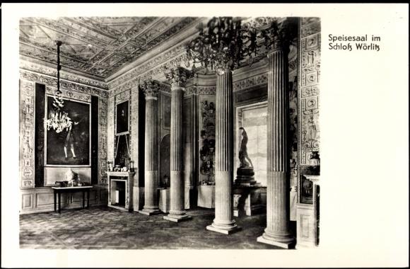 Ansichtskarte / Postkarte Dessau, Speisesaal im Schloss Wörlitz, Gemälde