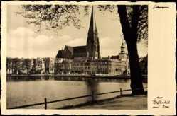 Postcard Schwerin, Blick zum Paffenteich mit Domansicht