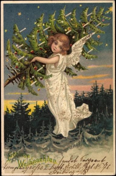 postcard frohe weihnachten engel mit tannenbaum akpool. Black Bedroom Furniture Sets. Home Design Ideas