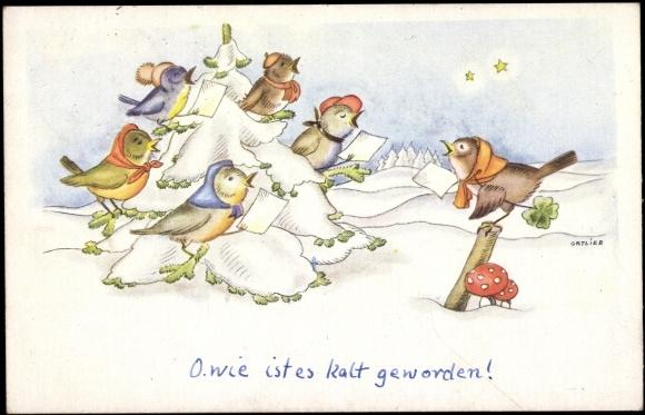 Ansichtskarte postkarte ortlieb vögel singen im winter pilz tanne