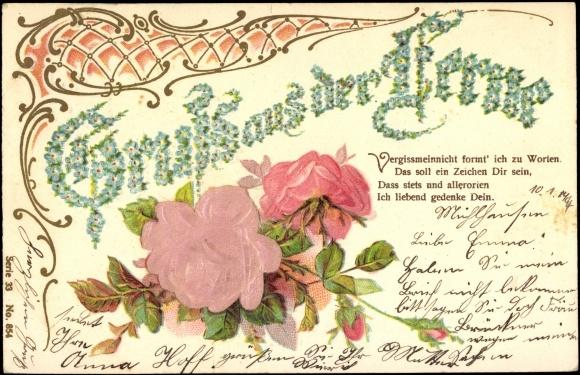 Präge Stoff Ansichtskarte / Postkarte Gruß aus der Ferne