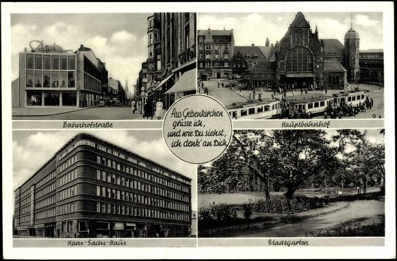 Ansichtskarte postkarte gelsenkirchen hauptbahnhof - Stadtgarten hamburg ...
