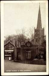 Postcard Aston East Midlands, Church and Park Entrance