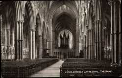 Postcard Lincoln East Midlands, Cathedral, Nave,Interior View