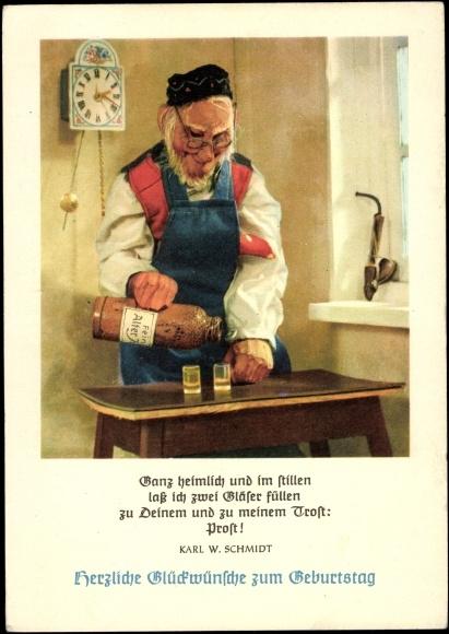 ansichtskarte postkarte gl ckwunsch geburtstag bier. Black Bedroom Furniture Sets. Home Design Ideas