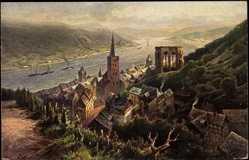 Künstler Ak Astudin, Barachach Rhein, Blick auf den Ort