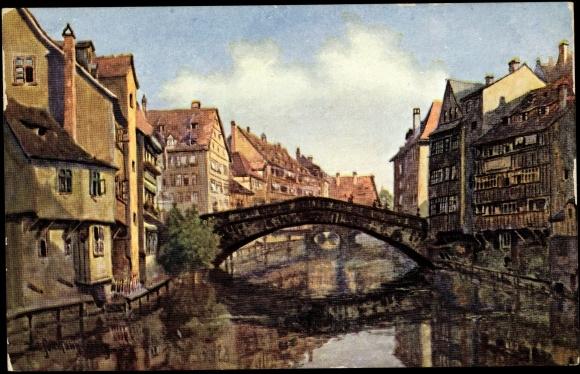 Ansichtskarte postkarte sollmann nürnberg fleischbrücke fluss